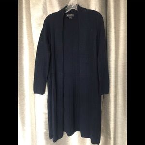 Cozy Navy 100% cashmere duster.